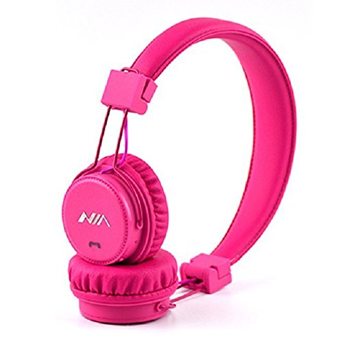 Wireless Headphones,GranVela XP1 Multifunctional Foldable Bluetooth Headset with Microphone, Share Port , APP,Micro SD Card Player and Built-in FM Radio, Volume limiting for Kids (Pink)