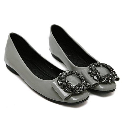 3 36 Partido uk Trabajo Mujeres Bombas Negro Cuadrado Moda Cuero Gray Simple Rojo Zapatos Patente Otoño Rhinestones Baja Nueva 5 Cabeza 4 Nvxie De Señoras Corte Boca Ocio Primavera eur38uk55 Eur FBS1wS4q