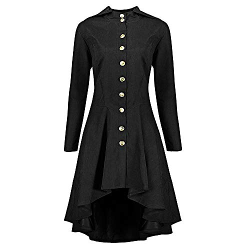 Fiaya Women's Gothic Vintage Steampunk Lace Up Swallow Tail Hooded Trench Coat Jacket Blazer Outwear (XXXXXL, Black1)