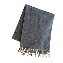 Polo Ralph Lauren 100 % Lamb Wool Fringe Scarf Mens Grey