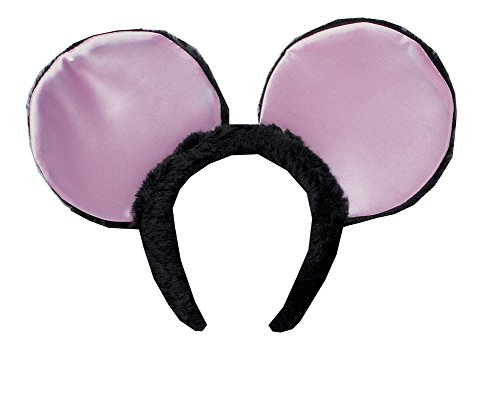 Ears Rat Costume (Jumbo Black Plush Mouse Ears Headband Costume Accessory w/ Pink Lame)