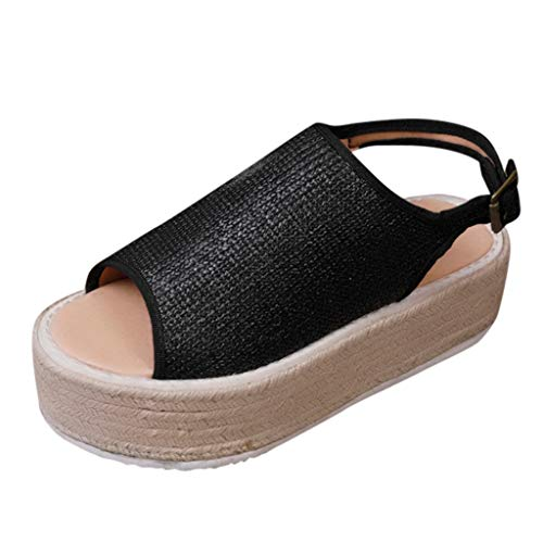 Womens Open Toe Espadrille Ankle Strap Boho Lace Up Rivet Flatform Sandals Black