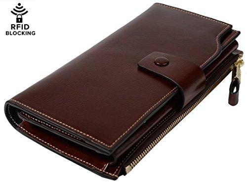 YALUXE Women's Wax Genuine Leather RFID Blocking Large Capacity Luxury Clutch Wallet Card Holder Organizer Ladies Purse Wallets for women brown Coffee -