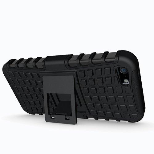 Apple iPhone 5 / 5S / SE Outdoor Handy Tasche Schwarz Hybrid Case Schutz Hülle Panzer TPU Silikon Hard Cover Bumper I betterfon