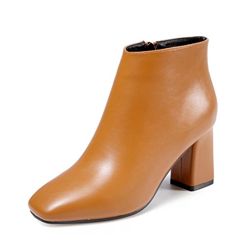 New Winter 37 Versatile Women Square With Thick Women Brown Shoes Sleek KHSKX High Version Korean 5Cm Tide The Of Side Shoes Zip Heeled 7 And Head The Boots qn1ZpwPa