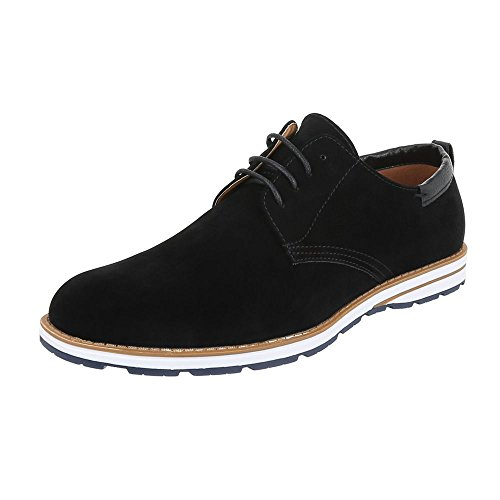 Ital-Design Men's Lace-Up Flats Black