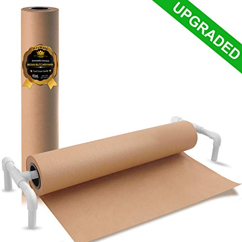 "HeyMate Brown Kraft Butcher Paper Roll with Extra Support Bracket & Paper Cutting Knife - 24"" x 2100''(175ft) - FDA Approved Food Grade Wrapping Paper for Smoking Meat- Unbleached, Unwaxed & Uncoated"