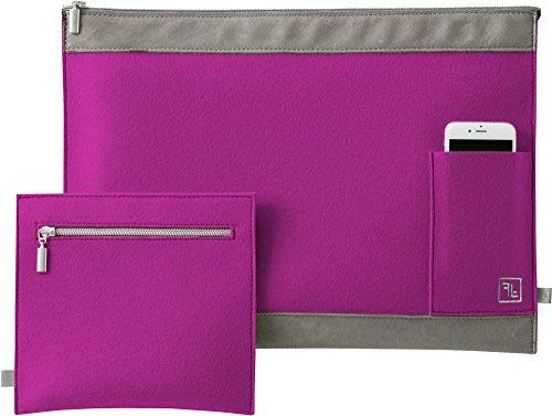 Fine Filz Laptop Tasche LT1für 15 Zoll Geräte wie z. B. MacBook Pro 15 aus reinem Merinowollfilz - 100% Handmade in Germany (Hokkaido Orange) Magenta
