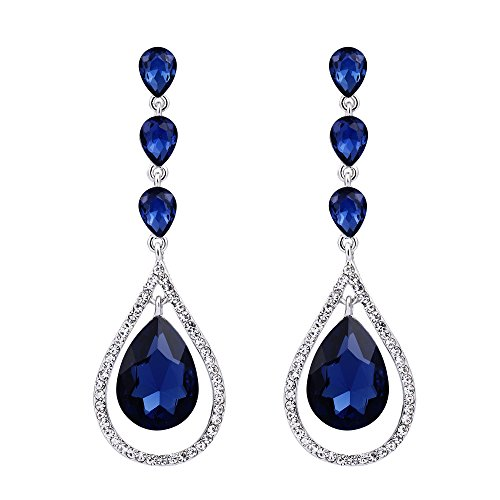 EVER FAITH Austrian Crystal Bridal Hollow-out Teardrop Pierced Dangle Earrings Blue Silver-Tone ()