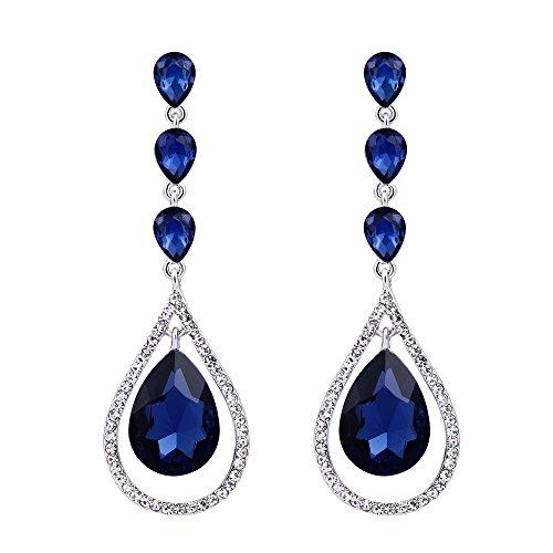 EVER FAITH Austrian Crystal Bridal Hollow-out Teardrop Pierced Dangle Earrings Navy-blue Silver-Tone