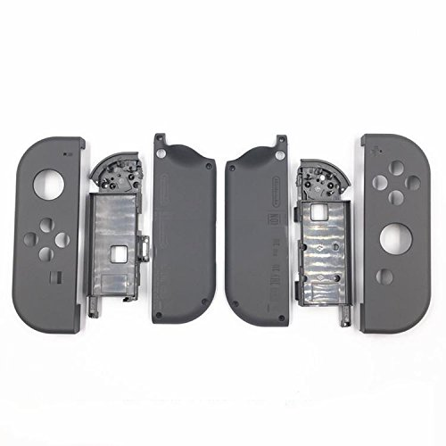 Full Housing Faceplate Shell Case Cover & Battery Middle Plate Frame Replacement Part Nintendo Switch NS NX Joy-Con Controller(Gray)