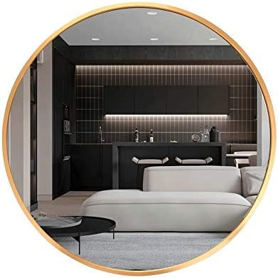 Huimei2Y 19.7 Inch Circle Wall Mirror with Metal Frame for Vanity, Bathroom, Bedroom, Entryway Living Room, 19.7inch, Gold, 50x50cm