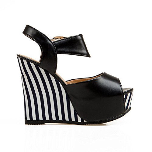 AmoonyFashion Womens Soft Material Peep-Toe High-Heels Buckle Assorted Color Sandals Black obTHB