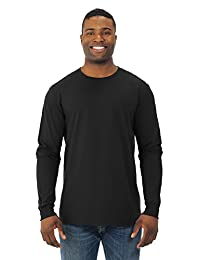 Fruit Of The Loom Mens Sofspun Long Sleeve T-Shirt, JZSFLR, 3XL, Black