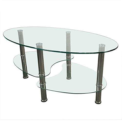 Adumly Tempered Glass Oval Side Coffee Table Transparent Round Living Room Furniture