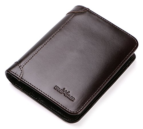 RFID Blocking Bifold Slim Extra Capacity Genuine Leather Wallet for Men ()