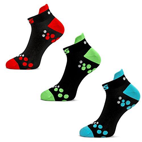 SLS3 Running Socks | Mens Performance Socks Anti Blister | Cycling Socks | Athletic Socks | (Multicolor, Large)