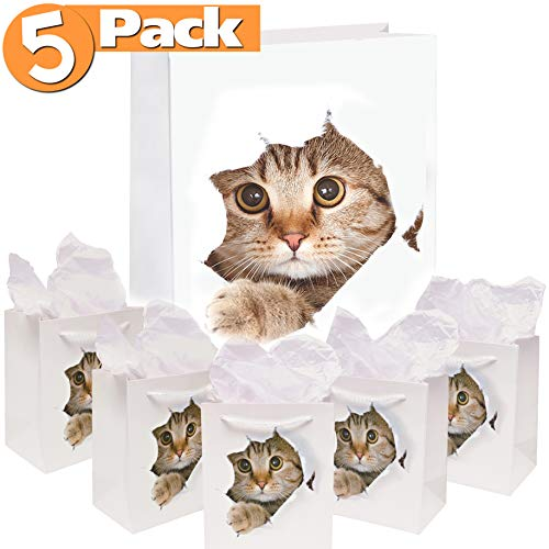 5-Pack Cat Gift Bags | Paper Bag for Birthday and Holiday Gifts, Party Favors | Kitten Themed Goodie Bags with White Rope Handles | Reusable, Biodegradable, 7x7.5 Inches (Paper Wrapping Christmas Dora)