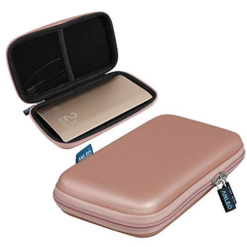 Anleo Hard EVA Travel Case for fits DULLA M50000 Portable Power Bank 12000mAh External Battery Charger Color: Rose Gold