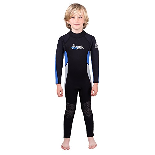 - Seavenger Scout 3mm Kids Wetsuit | Full Body Neoprene Suit for Snorkeling, Swimming, Diving (Ocean Blue, 4)