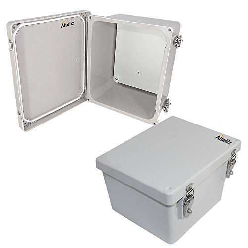 Altelix 10x8x6 FRP Fiberglass NEMA 4X Box Weatherproof Enclosure with Aluminum Equipment Mounting Plate, Hinged Lid & Stainless Steel Latches (Pole Plate Mounting)