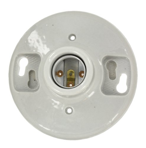 - Leviton 49875 One-Piece Glazed Porcelain Outlet Box Mount, Incandescent Lampholder, White