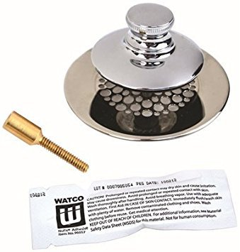 WATCO MANUFACTURING 48750-PP-CP-G-51 3554110 Silicone Universal Nufit Tub Closure Push/Pull with Grid Strainer with Brass -