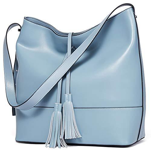 bce7a4c70b56 Finders | BOSTANTEN Women Leather Shoulder Bucket Handbag Tote Top ...