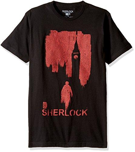 Sherlock Men's Red London T-Shirt, Black, 2XL
