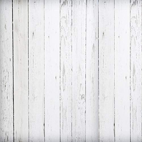 White Painted Wood Backdrop Rustic Pure White Bright Distressed Wood Planks Wooden Wall Floor Newborn Printed Fabric Photography Background (G0489, 8' by 8')