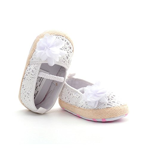 LIVEBOX Baby Girls' Crochet Knit Soft Sole Anti-Slip Mary Jane Bow Infant Prewalker Toddler Sandals (L: 12~18 months, Flower-White)