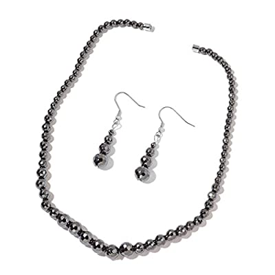 top Black Hematite Beads Stainless Steel Drop Earrings and Necklace 20 in save more