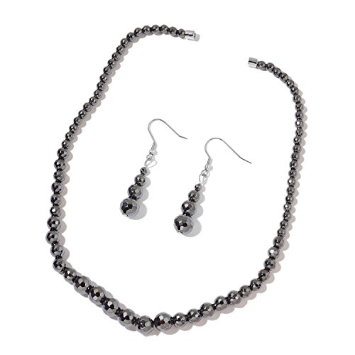 Hematite Stainless Steel Ring (Black Hematite Beads Stainless Steel Drop Earrings and Necklace 20 in)
