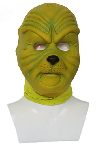 Grinch Latex Mask (XCOSER Grinch Mask Costume Props for Adult Halloween Christmask Cosplay Mask)