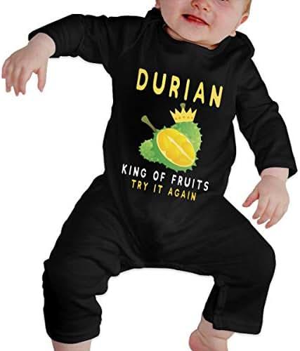 Durian King of Fruit Baby Long Sleeve Bodysuit Cotton Romper