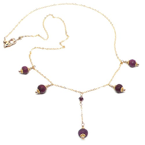 Faceted Genuine Ruby Gold-Filled Delicate Chain Necklace 17-1/2 Inches