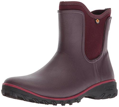 BOGS Women's SAUVIE Slip ON Boot Chukka, Wine, 7 Medium US (Bogs Ankle Boots)