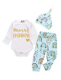 SUPEYA Baby Girls Boys Mama's Rainbow Print Romper Raindrop Print Pants Hat 3Pcs Set