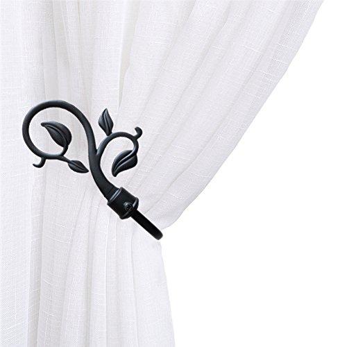 Chictie European Leaves Curtain Holdbacks Decorative Wall Hooks Hanger for Drapes Linen Holder Window Treatment Hardware,Set of 2 (Black) (Holdback Leaf)