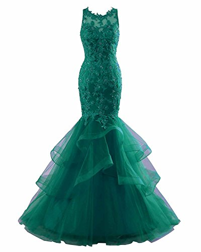 Mermaid Long Green Applique Tulle Evening Dress Women's Dress Party Yinyyinhs Prom Dark Formal qYTwa7