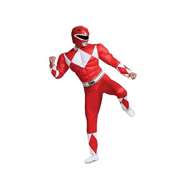 Disguise Mens Red Ranger Classic Muscle Adult Costume