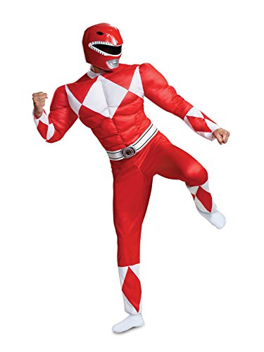 Disguise Men's Plus Size Red Ranger Classic Muscle Adult Costume, XXL (50-52)
