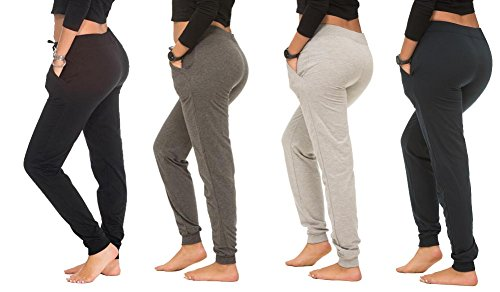 Set Sweatpants - Coco-Limon Women Joggers - Long Fleece with Rib Trimming & Side Pockets, Set of 4 (Black/Heather Grey/Charcoal/Navy), Medium