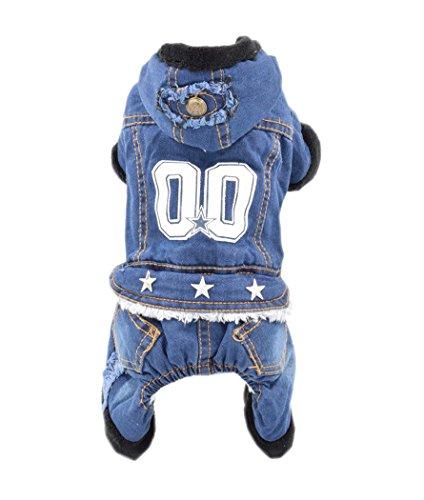 [Jean design autumn and winter warm jumpsuits dog clothes (L)] (Best Halloween Costume Florida)