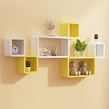 Custom Decor Designer Wooden Wall Shelves, (Yellow and White) - Set ...