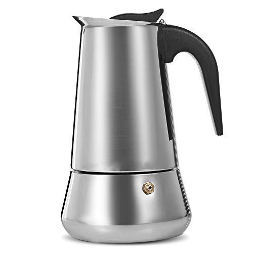 Cafetera Italiana Express De Inducción De Acero Inoxidable Con Acabado Cromado De Cobre, Para Espresso Con Mucho Cuerpo,...