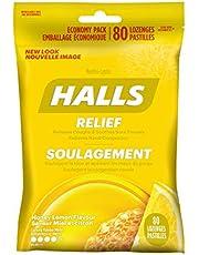 HALLS Triple Soothing Action Cough Drops, Honey Lemon, 1 Resealable Bag (80 Drops Total)