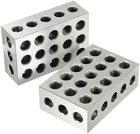 耐久性のある2ピース25x50x75mmブロック23穴平行クランプブロック旋盤ツール精度0.005mm DIY木工旋盤