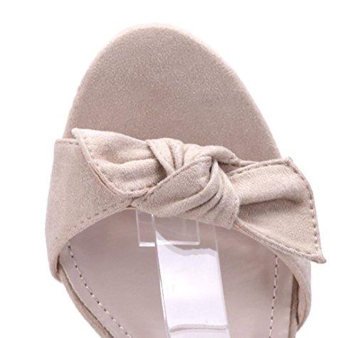 Schuhtempel24 Damen Schuhe Sandaletten Sandalen Blockabsatz Zierschleife 9 cm Beige