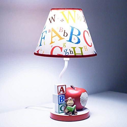 (Kids Table Lamps for Bedrooms, Nursery Animals Thematic Hand Painted, Decor Night Light Gift (Apple & Monkey))